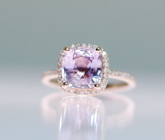 Purple Sapphire Ring 14k Rose Gold Diamond Ring 3.45ct Square Cushion Lavender …: This ring features a 3.45ct cushion sapphire. The stone is unbelievable - clear and beautiful. It is a natural non-treated stone, very rare.