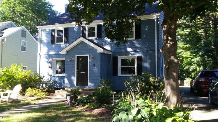 After Sherwin Williams Smokey Blue Black Shutters White