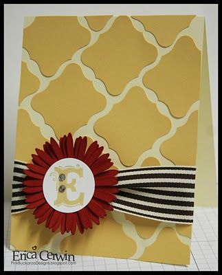 This is the Stampin' Up! Curly Punch!    http://pinkbuckaroodesigns.blogspot.com/search/label/MonogramsMonograms Flower, Christmas Cards, Cards Design, Stampin Up Cards Ideas, Buckaroo Design, Greeting Cards, Pink Buckaroo, Cards Layout, Labels Punch