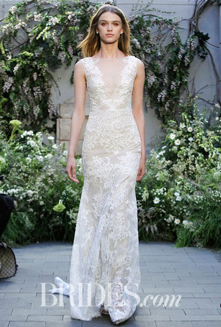 """""""Summer"""" Silk white re-embroidered lace illusion deep V-neck modified trumpet gown, Monique Lhuillier"""