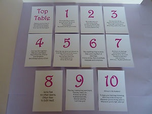 Wedding Table Numbers with verses