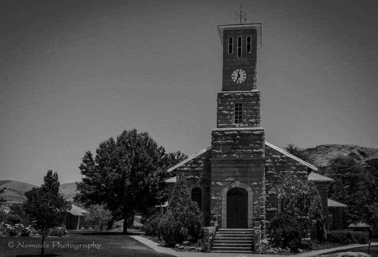 11:35 - Church building in the town of Clarens. Built from sandstone, a building medium much used in the Eastern Freestate, to build churches, farm houses and other buildings. Churches constructed with sandstone can be found in many East Freesate towns.