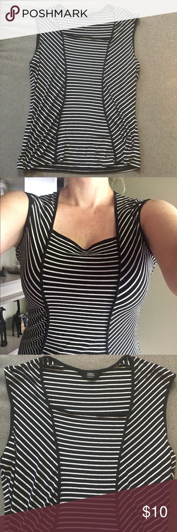 Marks&Spencer fitted b&w soft sleeveless shirt Soft and striped sleeveless shirt, made of 92%viscose and 8%elastane means it is soft and stretchy! A definite favorite for your closet and will look great under a suit jacket! Great condition, no visible signs of wear. UK size 14 = US 12 Marks & Spencer Tops