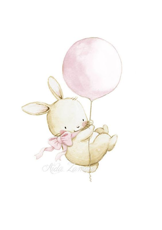 "Nursery Art ""BUNNY with PINK BALLOON"" Nursery Print, Children's Illustration. Kid's Balloon Art, Girls balloon wall art, Bunny ballon print"