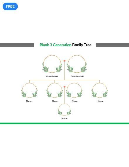 Free Blank 3 Generation Family Tree Family Tree Templates
