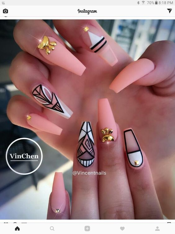 Long Nails Designs | 73 Peach Coral Coffin Almond Stiletto Acrylic Nail Design For Short