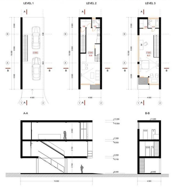 Dise o de casas angostas y largas construye hogar casa for Casas largas y estrechas