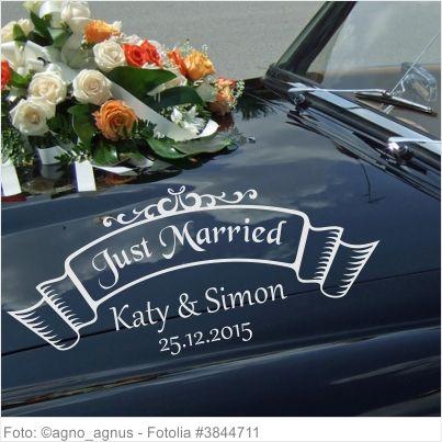 Autoaufkleber Hochzeit Just Married Banner mit Vornamen