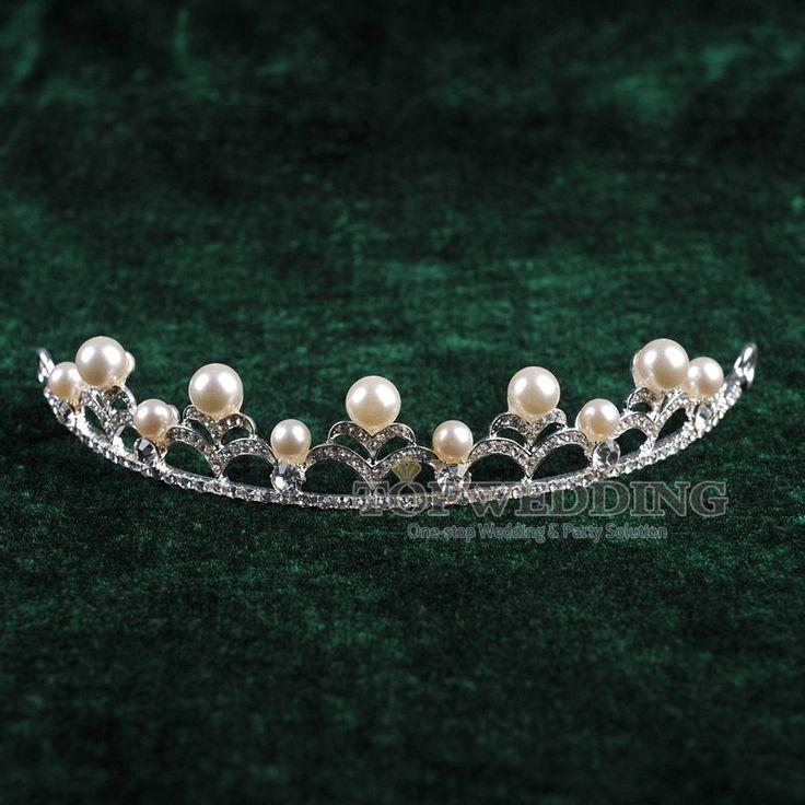 Wedding Jewelry Pearl Crown Veil Tiara Crystal Rhinestone Headband Prom Bridal
