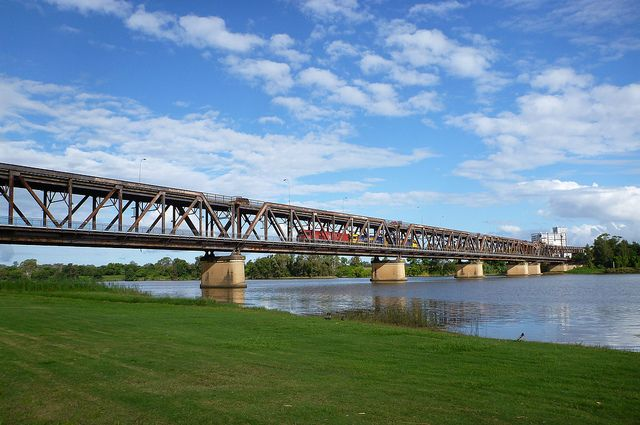 Grafton Bridge 1 The double decker bascule (stopped in 1969) bridge in Grafton over the Clarence River. The upper deck is...