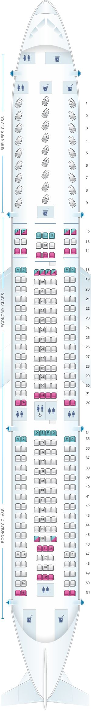 Seat Map Air Canada Airbus A330 300 North America