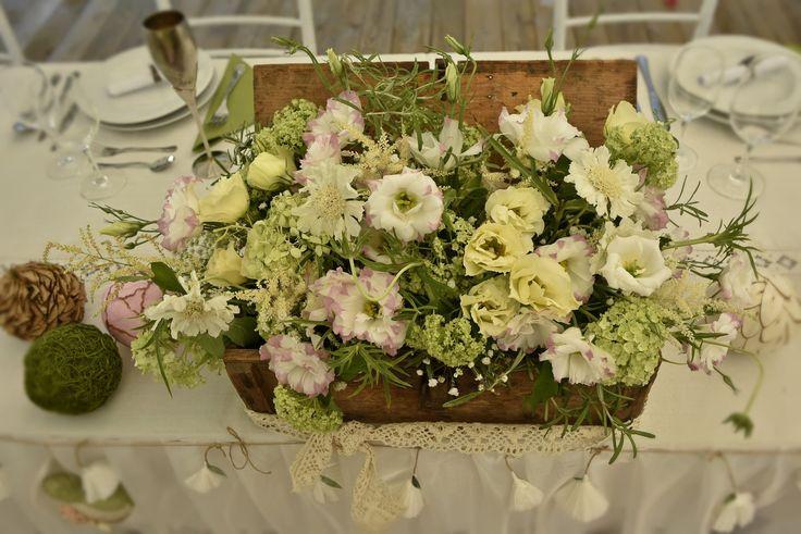 vintage main table flower decor in a wooden box by VintageChics www.facebook.com/vintagechics