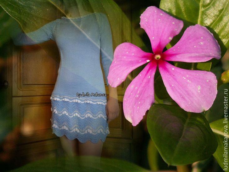 """Купить Платье """"Волны"""" - голубой, однотонный, платье, Шерсть с шелком, шерсть с акрилом, шерсть"""
