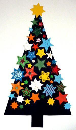 Tannenbäume mit Sternen, Kugeln und Glitzerfolie - Weihnachten-basteln - Meine Enkel und ich