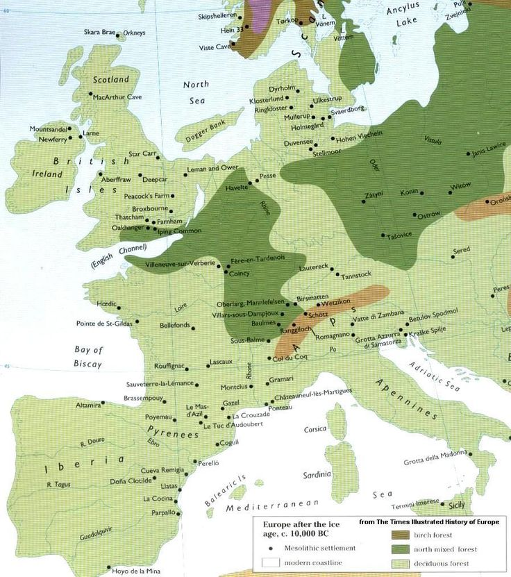 Western Europe circa 10,000 BC at the very end of the Ice Age. Ireland had already split from Britain (when it was still a barren post-glacial tundra, hence no snakes!) but Britain was still linked to continental Europe until about 6500 BC as sea levels continued to creep upward.