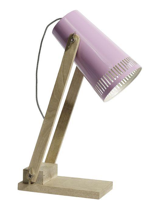 hout bureaulamp roze