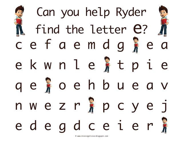 letter recognition with the lowercase letter e with ryder from paw patrol life as a moore. Black Bedroom Furniture Sets. Home Design Ideas