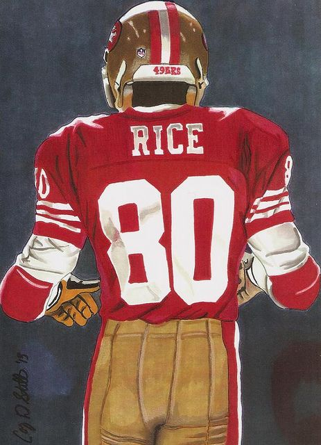 Marker drawing of Jerry Rice by Cory Still