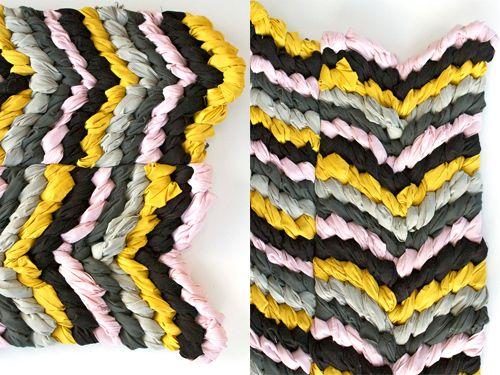 DIY: Friendship Bracelet chevron rug - The House That Lars Built -- Use bedsheet!