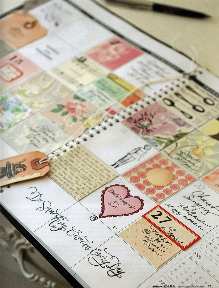 Do Something Creative Everyday - Idea of using a planner and making plans to be creative in each day's block!    (Idea &  image is originally from Somerset Life  magazine.)