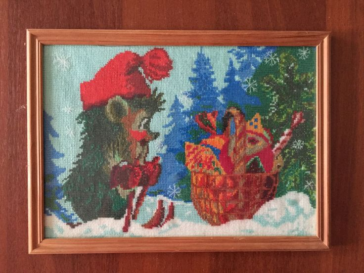 """Completed cross stitch, Home decoration, Framed cross stitch, Handmade embroidery  -""""Krotik"""". Free shipping by NattikStudio on Etsy"""