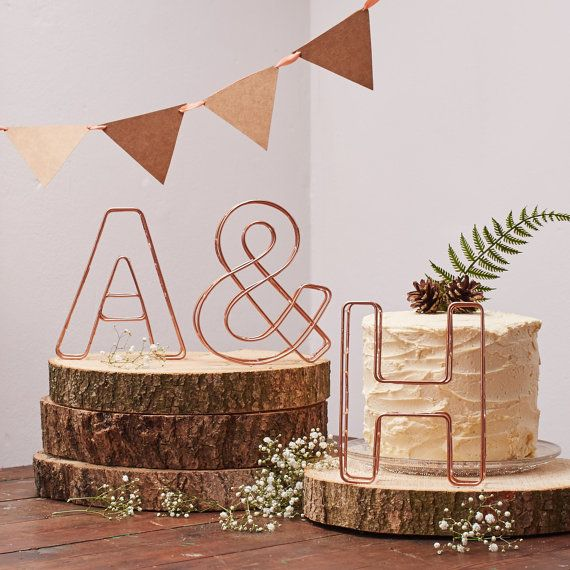 Metallic Copper Industrial Wire Alphabet Letters. Freestanding Stainless Steel Initials. Personalised Decorative Letters.Wedding Decor.