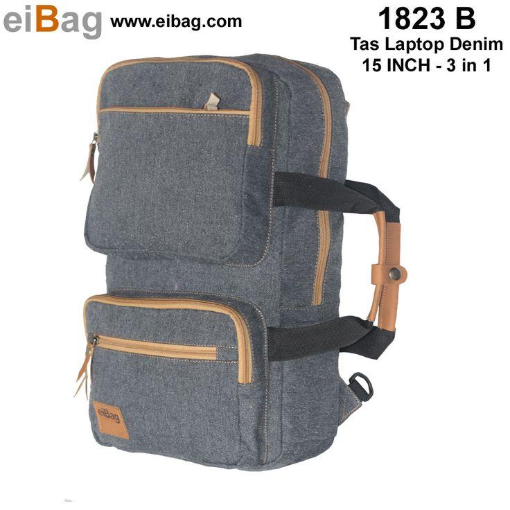 #taslaptop Tas laptop multifungsi murah bandung produk merk EIBAG yang bisa digendong, dijinjing, dan diselempang, kapasitas laptop 15 inch, aksesoris, buku, baju, dll