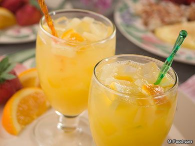Easter Brunch Punch --- (frozen o.j. concentrate, frozen lemonade concentrate, pineapple juice, peach nectar, ginger ale)