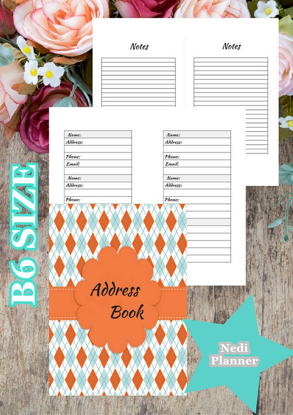 B6 size  Address Book Address Book Printable work Planner