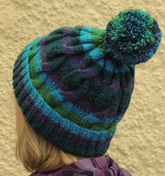 Pom Pom Beanie Knitting Pattern : Mens / Womens, Hand Knitted, Cable Pattern Beanie Hat With Bobble /...