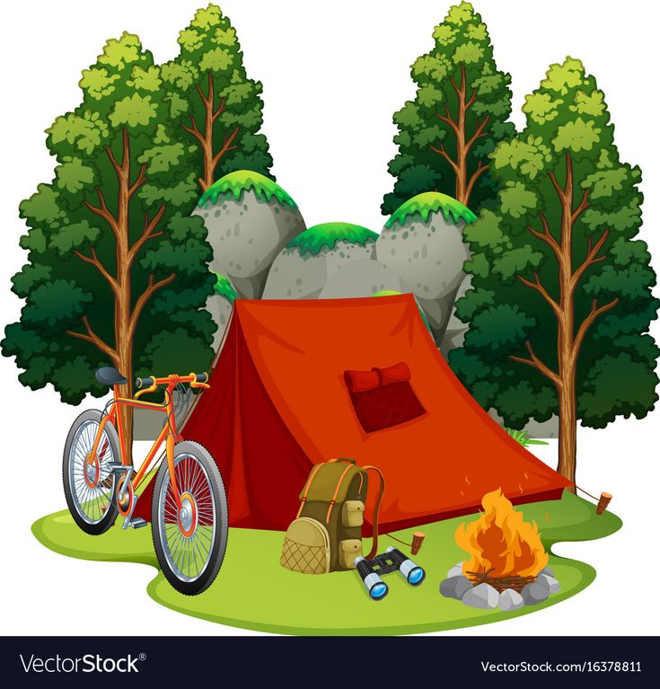 Camping site with tent and campfire vector image on ...