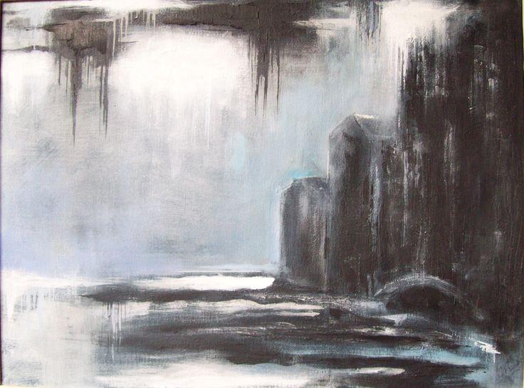 """"""" Case sull'acqua con cielo bigio"""" . 2011. Acrilico su tela, cm 30 x 40 ."""