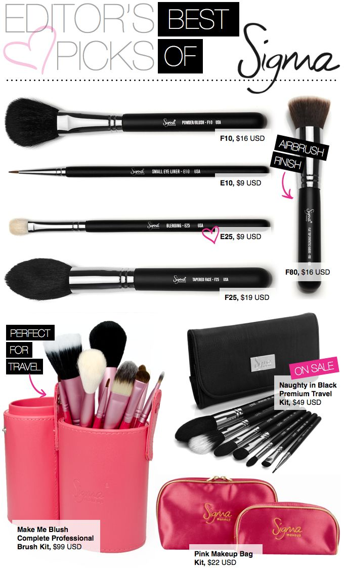 Editor's Picks: Best of Sigma Brushes. Half the cost of MAC, great quality. #makeup