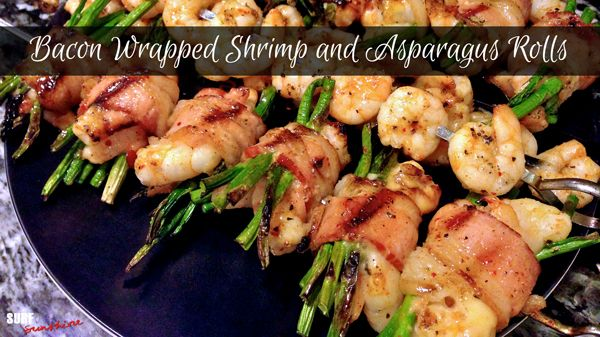 Bacon Wrapped Shrimp and Asparagus Rolls ~ love this idea minus the marinade. will use own mariade...