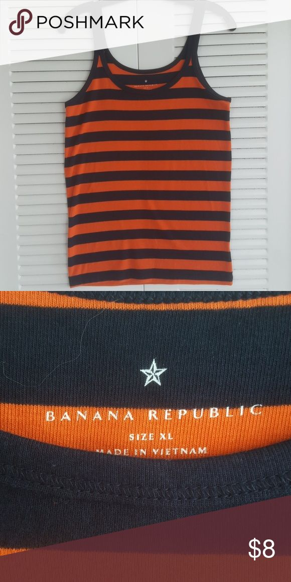 NWOT Banana Republic Tank Top New, never worn. Navy and orange stripe. Purchased for a UVA game and didn't end up going. 100% cotton. Size XL but runs small. Fits a medium Banana Republic Tops Tank Tops