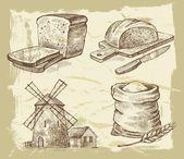 Kézzel rajzolt kenyér — Stock Vector