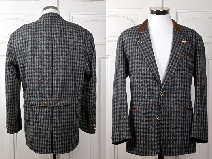 Vintage Trachten Jacket, Austrian Tyrol Check Blazer w Faux Antler Buttons, Bavarian Octoberfest Janker Hunting Jacket: Size XL, 42 US/UK by YouLookAmazing on Etsy