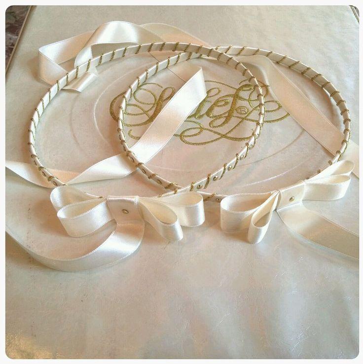 HANDMADE ORTHODOX WEDDING CROWNS / TIARAS - GREEK STEFANA WITH METALLIC GEMS #Crown