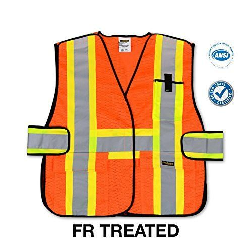 KwikSafety Class 2 High Visibility Breakaway Cool Mesh ANSI Heavy Duty Construction Reflective Safety Vest With Pockets And Strips Yellow