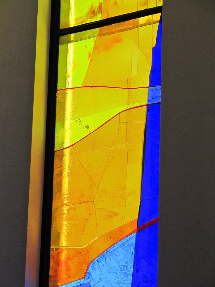 Detail from Kjell Nupen´s stained glass windows for Geilo Church, Norway. Photo: Åse Margrethe Hansen