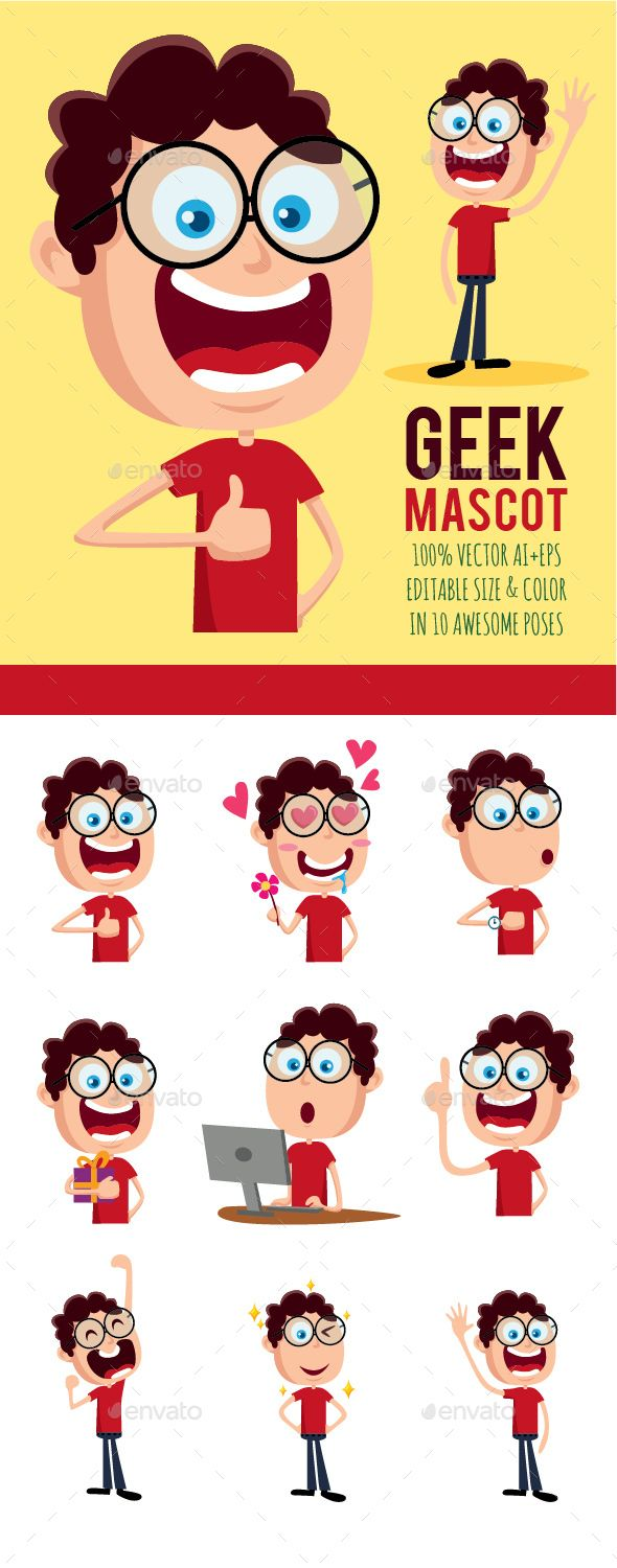 Geek Character for Mascot and Sticker