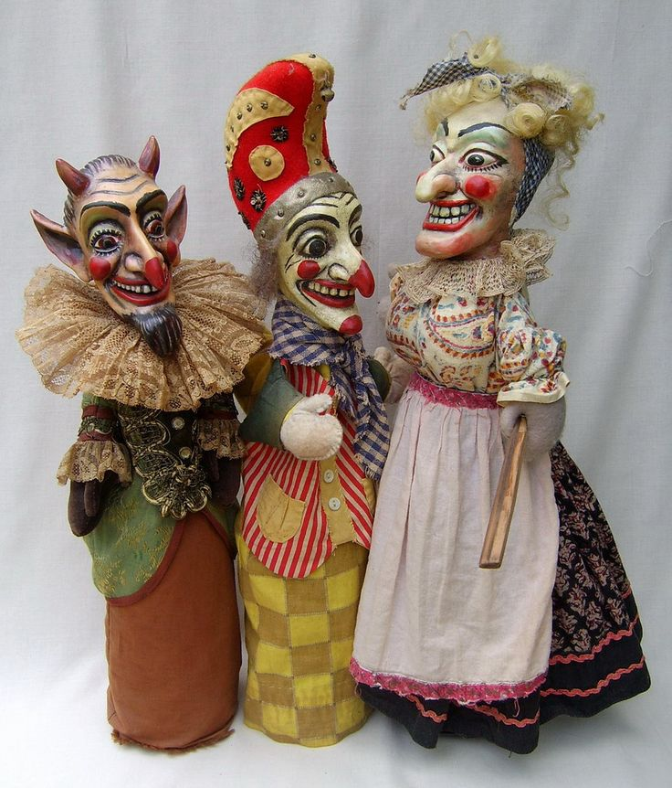 Punch and Judy  & the Devil..... marionettes.  vintage French?