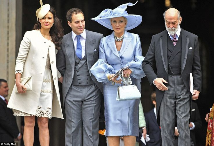 Polished: Lord Frederick Windsor and his wife, Sophie Winkleman in pretty cream, arrive at St Paul's with Prince Michael of Kent and his Baroness wife, dressed in pale blue shantung silk