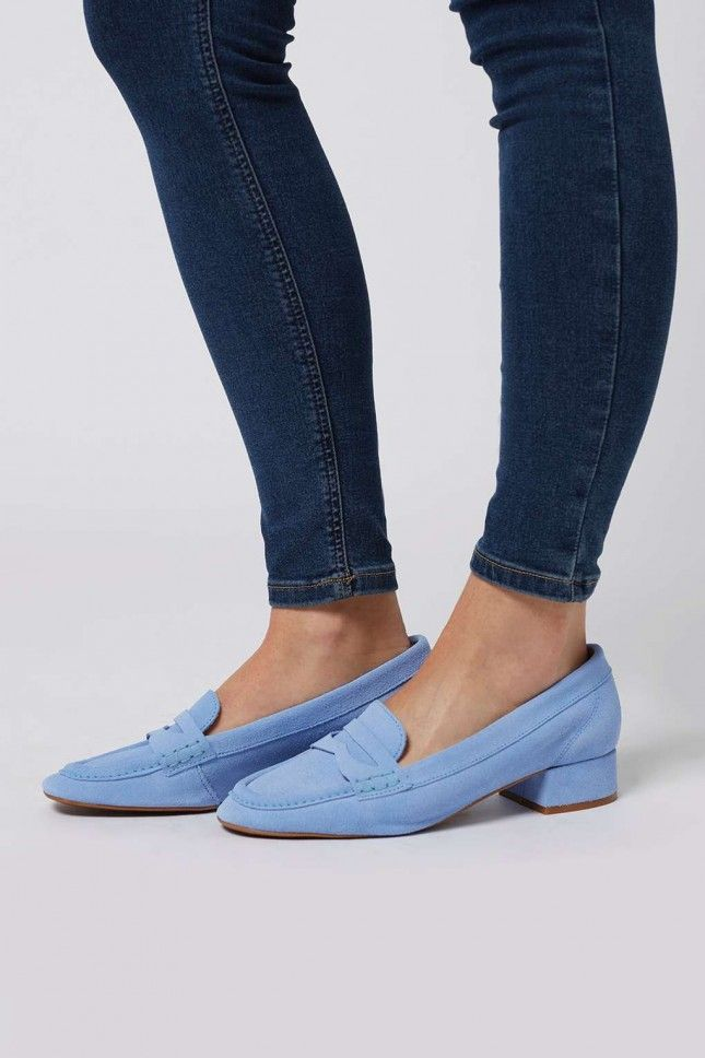 Add these periwinkle block heel loafers to your spring wardrobe STAT.