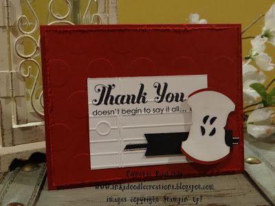 #inkadoodlecreations, #fridaymashup, teacher thank you handmade cards, apples