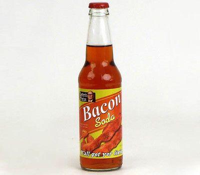 BACON SODA - LESTER'S FIXINS MEAT FLAVORED SODA POP DRINK 12 OZ GLASS BOTTLE