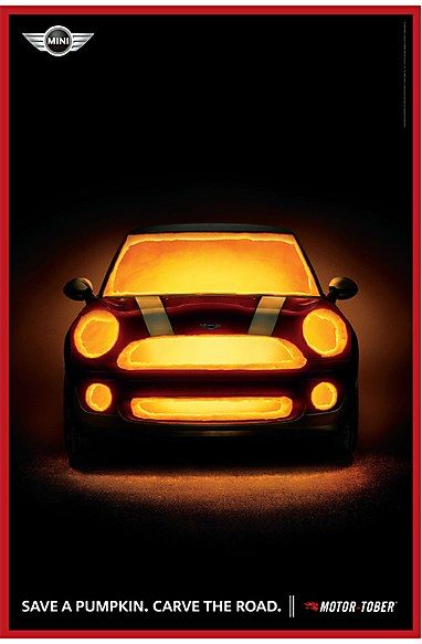 """Mini Cooper """"Save a pumpkin. Carve the road.""""- this car will do just that!"""