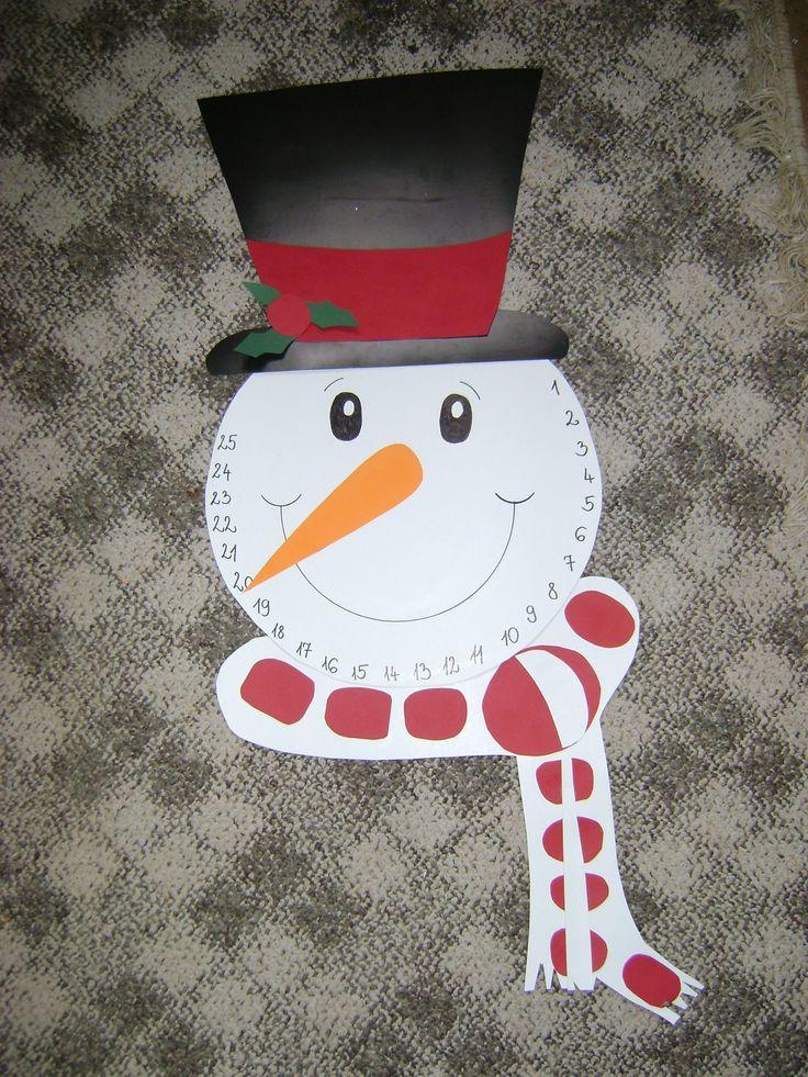 Hóember (téli naptár) vastag kartonokból