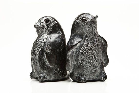 Set of black soapstone carvings penguins signed