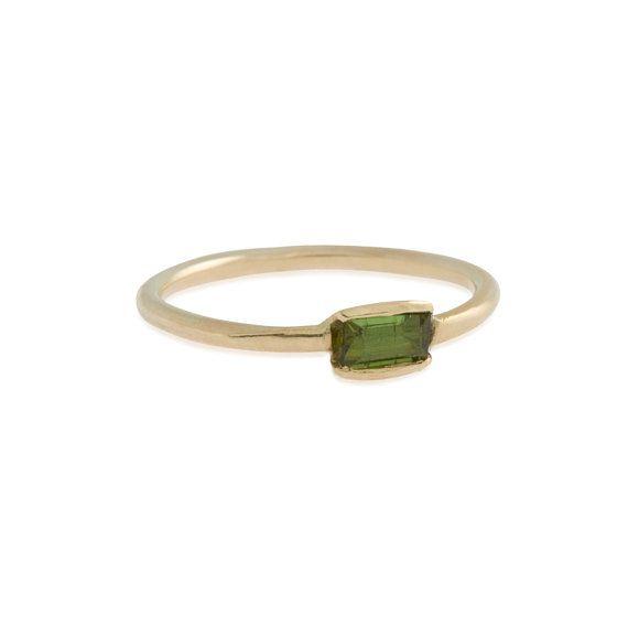 Tourmaline Baguette Ring in 9ct Gold  Made by nikkistarkjewellery, £65.00